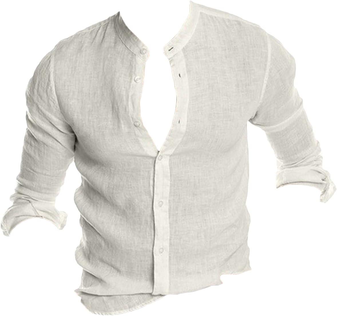 Men's Cotton Linen Button Down Dress Shirt Regular Fit Long Sleeve Casual Beach Tops for Men Summer Loose V Neck Shirts (White,Medium)