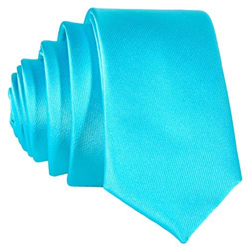 DonDon DonDon schmale türkise Krawatte 5 cm