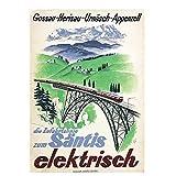 Feitao Suiza Appenzell Turismo Santis Electrisch Pinturas Clásicas En Lienzo Arte De Pared para Sala De Estar -20X30 Pulgadas Sin Marco