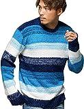(キャバリア)CavariA メンズ セーター ニットソー ニット シャギー クルーネック Vネック ボーダー 長袖 44(M) NAVY-B(クルーネック)【+】