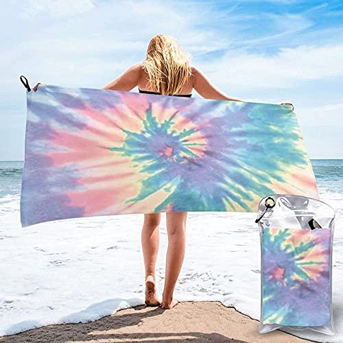 XCNGG Toalla de playa de secado rápido con efecto teñido anudado Toalla de viaje de microfibra impresa en 3D Toalla de playa liviana Adecuada para piscina de playa Gimnasio Camping Yoga Picnic 27.5 'x