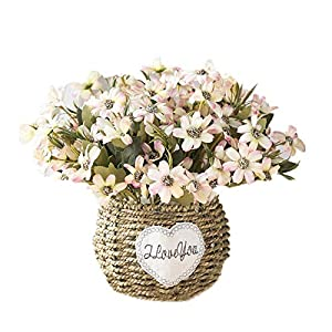 Artificial Flowers Hand-Made Flower Basket Artificial Flowers Home Decoration Suitable for Dining Table Courtyard Home Office Wedding (Gardenia)