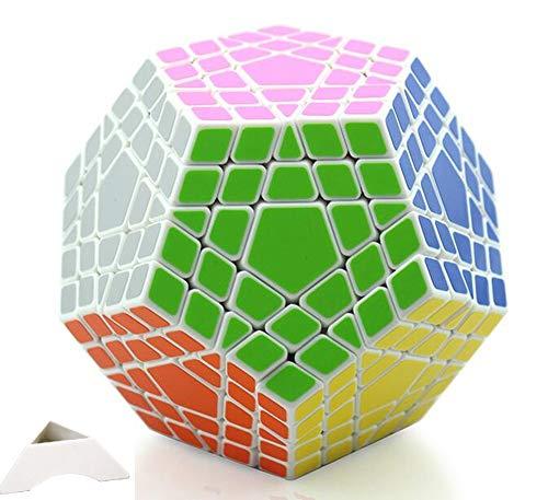 HappyToy Shengshou 5x5x12 Megaminx Dodecahedron 5x5 Megaminx Megaminx Cubo 12 Surface + Un treppiede personalizzato (bianca)