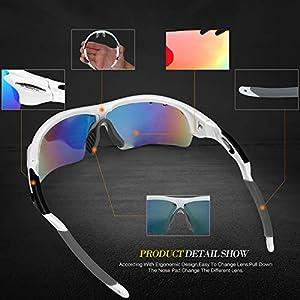 INBIKE Gafas De Sol Polarizadas para Ciclismo con 5 Lentes Intercambiables UV400 Y Montura De TR-90, Gafas para MTB Bicicleta Montaña 100% De Protección UV(Blanco)