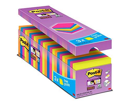 """Post-it """"Super Sticky Notes Promotion"""" selbstklebende Haftnotizzettel in 76 x 76 mm – 24 Notizblöcke quadratisch à 90 Blatt in Neon Orange & Grün, Ultra Pink & Blau"""