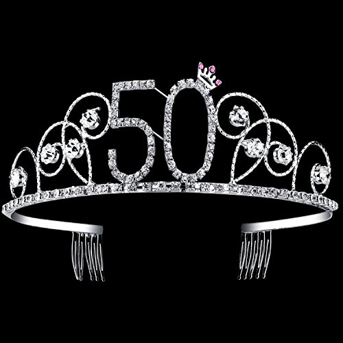 BABEYOND Crystal Tiara Birthday Crown Princess Crown Hair Accessories Silver Diamante Happy 50th Birthday (50 Birth)