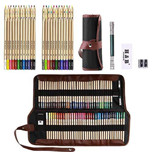 Lypumso Lápices de Colores, 72 Piezas Set Lápices de Colores Vivos para Dibujar, para Artistas Profesionales y Principiantes, Incluye Herramientas de Pintura