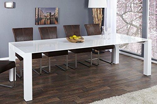 Casa Padrino Moderner Design Esstisch Weiß Hochglanz - Extra Lang - Ausziehbar 180-220 - 260 cm Esszimmer Tisch