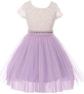 Little Girls Sleeves Lace Tulle Flower Girls Dresses Sizes 2-14