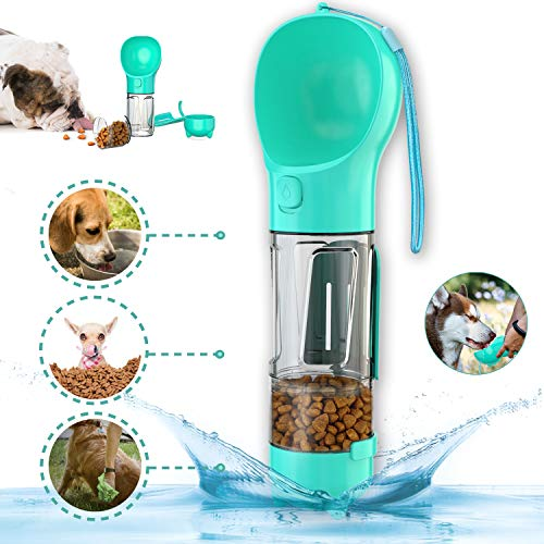 Dog Water Bottle Portable Pet Water Bottle for Walking Dog Water Bottle with Food Storage 4 in 1 Dog Water Bottle for Traveling Hiking with Bowl for Dogs Cats