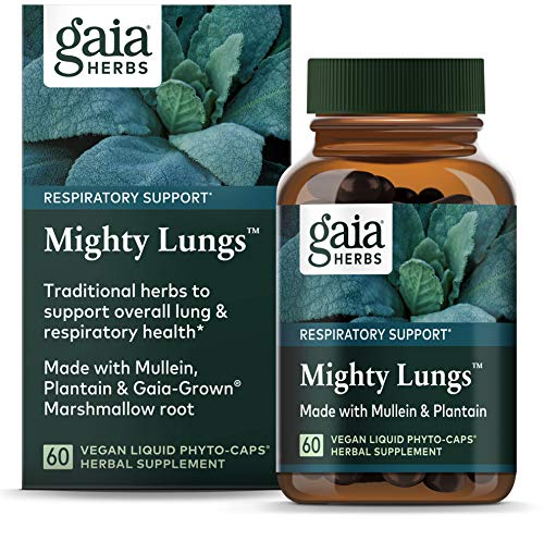Gaia Herbs, Mighty Lungs, Lung and Respiratory Support, Mullein, Plantain, Vegan, Liquid Phyto Capsules, 60 Count (Pack of 1)