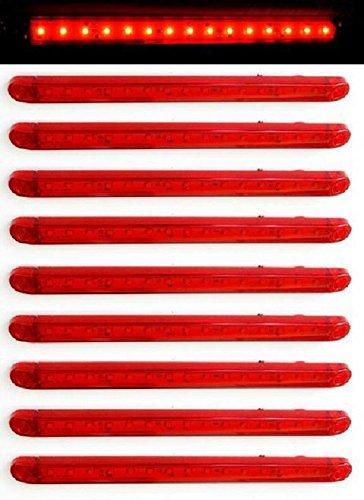 Lot de 10 feux de gabarit arrière rouges à LED 12 V 24 V pour camion, remorque, châssis, benne, caravane, camping-car, van, bus