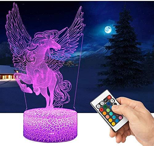 Baby Spielzeug 3D s lámpara LED noche luz con control remoto 16 colores seleccionable regulable interruptor táctil noche lámpara regalo cumpleaños feliz para niñas hombres mujeres niños-Zc Einhorn