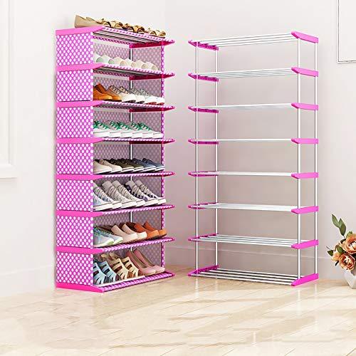 Zapatero Estante organizador de estante de zapatos apilable de color rosa para la entrada del armario del dormitorio, estante de almacenamiento a prueba de polvo a prueba de polvo con tubo de acero