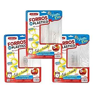 FORROS DE LIBROS STARPLAST – Forros de libros de plástico adhesivo ajustable, 18 Unidades transparentes, para proteger…
