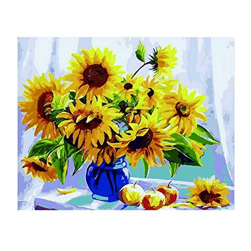 Pintura Al Óleo De Giras ol Kit De Pintura Al Óleo De Bricolaje Kits De Color De Flores Por Números Pintura Por Números Pintura Lienzo De Bricolaje Van Gogh's Sunflowers Mariposa Pintura Sobre Lienzo