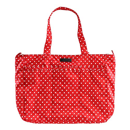 JuJuBe Super Be Large Everyday Lightweight Zippered Tote Bag, Onyx Collection - Black Ruby - Red/White Polka Dots