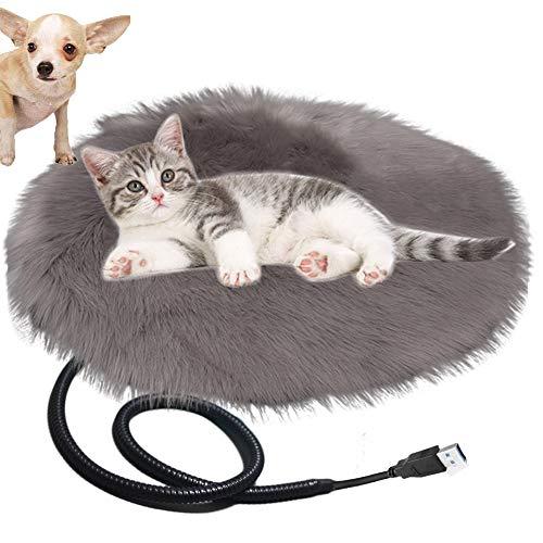 Queta Heizdecke USB Heizmatte Decke für Katzen & Hunde, Katzendecken Haustierdecke Umweltfreundliche Wärmematte Heizdecke waschbar, 40 x 40 cm (Grau)