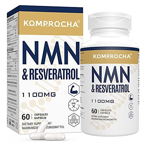 NMN+ Trans-Resveratrol 1100MG, angereichert mit schwarzem Pfeffer für maximale Absorption, leistungsstarkes Antioxidans Nahrungsergänzungsmittel (60 Kapseln, Packung mit 1)