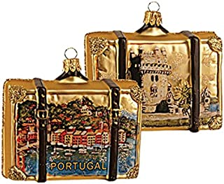 Portugal Suitcase Showing Belem Tower Polish Glass Christmas Ornament Travel Souvenir