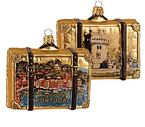 Portugal Suitcase Showing Belem Tower Polish Glass Christmas Ornament Travel Souvenir