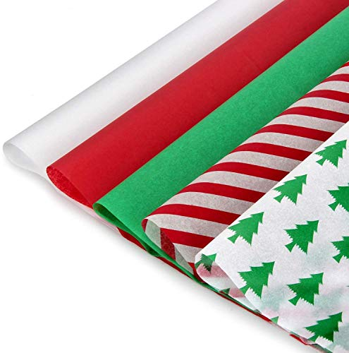 "Blisstime Christmas Tissue Paper Gift Wrapping Paper, 120 Sheets, 13.8"" X 19.7"", White, Red, Green, Red Stripe, Christmas Trees Design"