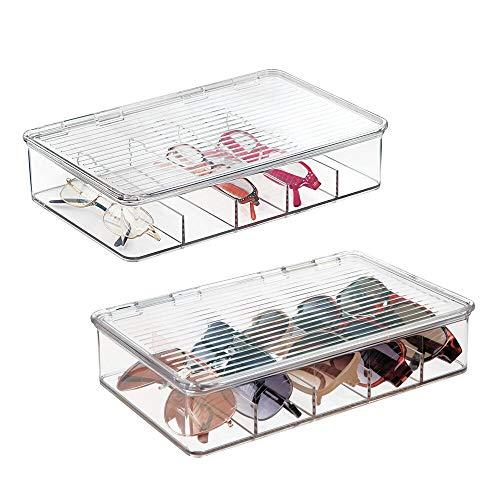 mDesign - Caja organizadora apilable para anteojos; guarda gafas de sol, lentes de lectura - Claro - Paquete de 2