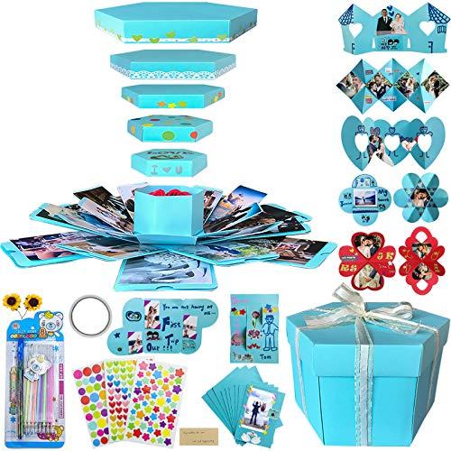 Explosion Gift Box Set Album Scrapbook DIY Photo Album Box for Birthday Anniversary Wedding (Blue)