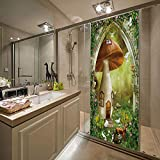 YANGCH 3D Etiqueta De Puerta Bricolaje Pegatinas De Pared Linda casa de setas animada 95x215cm Diy Adhesivo Decorativo De Puerta Autoadhesivo De Extraíble Impermeable