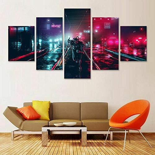 IMXBTQA Cuadro En Lienzo,Imagen Impresión,Pintura Decoración,Cuadro Moderno En Lienzo 5 Piezas XXL,150X80Cm,Oscuro Cyberpunk Robot Neon Murales Pared Hogar Decor