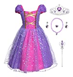 JerrisApparel Niña Princesa Disfraz Cumpleaños Fiesta Carnaval Vestido (4 años, Morado con Accesorios)
