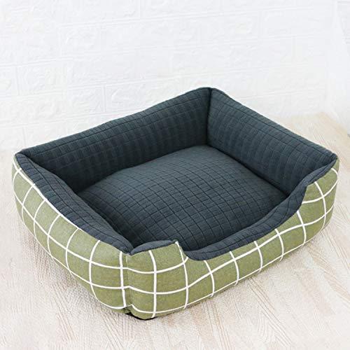 BOOL Haustier-Bett-Matte Anti-Angst-Hundebett Medium Anti Chew Dog Nest Anti-Rutsch-Boden Dog House Kissen Compressible Lair,Green Plaid-L