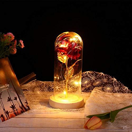 Belle en het beest Rode roos in een glazen koepel met LED-licht en basis voor Valentijnsdag Moederdaggeschenken Gratis schip, D, Australië