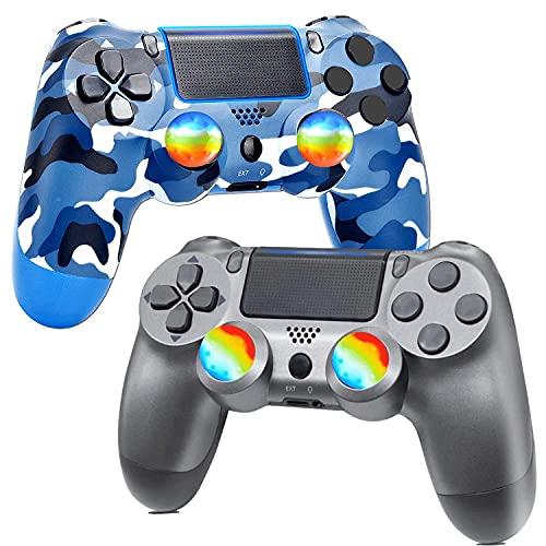 Lifattitude Paquete de 2 controladores inalámbricos para PS4, controlador de juego para Playstation 4 con doble vibración y cable de carga