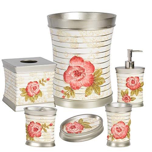 bed bath n more Pink Floral Bath Accessory Set or Separates Off-White Wastebasket