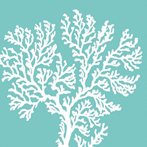 PPD Riviera Coral Aqua Servietten, 20 Stück, Tischservietten, Tissue, Hellblau / Weiß, 33 x 33 cm, 1332001