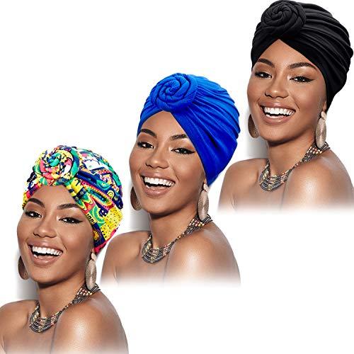 SATINIOR 3 Pieces African Turban for Women Knot Pre-Tied Bonnet Beanie Cap Headwrap (Black, Blue, Pink Flower)