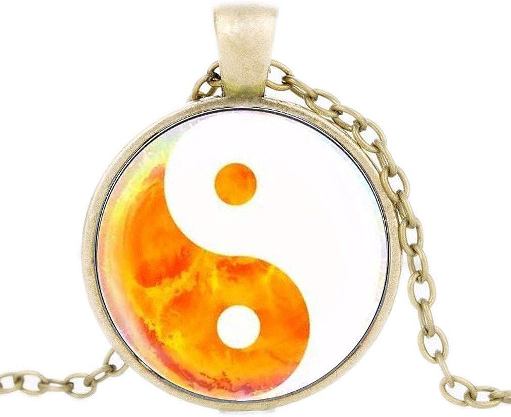 FOY-MALL Bronze-Tone Metal Glass Tai Chi Yin Yang Pendant Necklace XL1613N