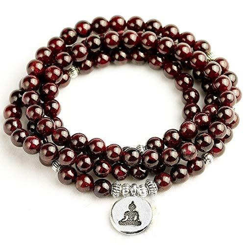 XIAOYAN Natural A Granate 108 Cuentas Mala Pulsera 6 Mm Piedra Mujeres Hombres Meditación Lotus Om Charm Pulseras de Yoga