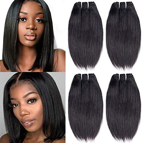 Mureen Hair Brazilian Straight Human Hair 4 Bundles Unprocessed Virgin Human Hair Weaves Straight Hair Brazilian Short Human Hair Bundles 50g/Bundle Virgin Hair Weaves Natural Color (10 10 10 10)