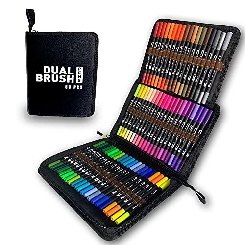 Marcadores de arte de colores, 60 rotuladores de punta doble para acuarela y punta fina para libros de colorear para niños y adultos