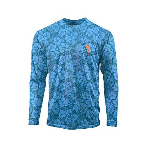 Margaritaville Men's Hibiscamo Microfiber Long Sleeve Performance T-Shirt, Swell, Large