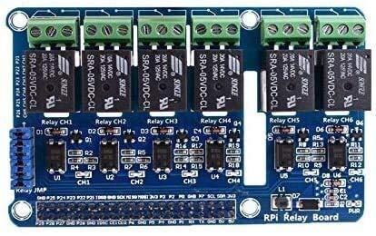 KASILU Dlb0216 6-Kanal-Himbeer-PI-Relais-Schirmmodul-Erweiterungsplatine für Raspberry Pi A + / B + / 2 B / 3b Steuerschalter Hochleistung