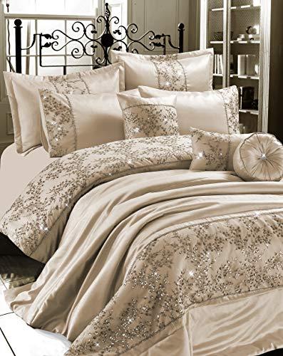 QM-Bedding Luxuries GIGI EMBROIDERED Satin Silk Duvet Quilt Cover Set Or,Bedspread Bed Set (Mink/Champagne, king)