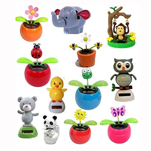 Fruit Bowls Car Decoration Blind Box Combination Set, Including 4 Various Dancing Solar Toy Flowers, Ladybugs, Pandas, Etc. (Color : Default)