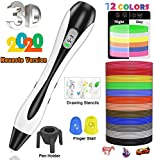 Lovebay Stylo 3D 3D Professionnel Pen Set Stylo d'impression 3D avec Ecran LCD+12 Multicolores Filament PLA Φ1,75 mm, Cadeau - Stylo 3D pour Enfant et Adulte【2020 Dernière Version 】 (Blanc)