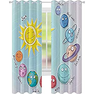 Crib Bedding And Baby Bedding Window Curtains, Cute Cartoon Sun And Planets Of Solar System Fun Celestial Chart Baby Kids Nursery Theme, 2 Panels W52 X L84 Window Treatments Draperies For Bedroom, Multi