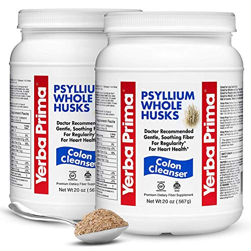 Yerba Prima Psyllium Whole Husks Colon Cleanser - All Natural, Dietary Fiber Supplement for Improved Bowel Regularity, Heart Health & Weight Loss Management - 2 Pack of 20 Onces (Total of 40 Onces)