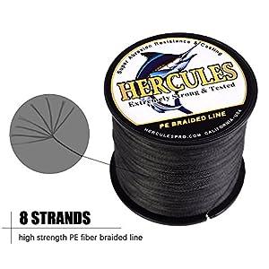 HERCULES Super Cast 100M 109 Yards Braided Fishing Line 300 LB Test for Saltwater Freshwater PE Braid Fish Lines Superline 8 Strands - Black, 300LB (136.1KG), 1.20MM