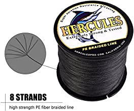 HERCULES Super Cast 100M 109 Yards Braided Fishing Line 50 LB Test for Saltwater Freshwater PE Braid Fish Lines Superline 8 Strands - Black, 50LB (22.7KG), 0.37MM
